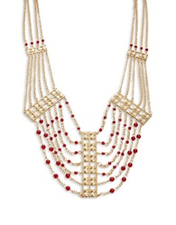 T And C Theodora And Callum Beaded Bib Necklace Red