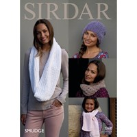 Sirdar Smudge Women's And Children's Hat And Scarf Knitting Paper Pattern 7868