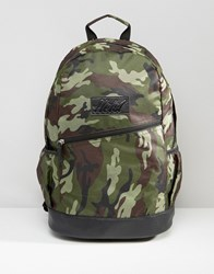 Heist Khaki Camo Backpack With Leather Look Trims Green