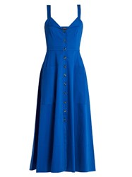 Saloni Fara Button Down Midi Dress Blue