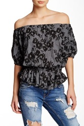 Free People Shades Of Cool Strappy Print Blouse Gray