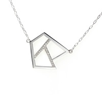 Ona Chan Triple Lattice Necklace With Sapphire Silver