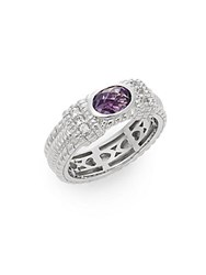 Judith Ripka Romance Amethyst White Sapphire And Sterling Silver Ring Silver Purple