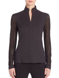 Akris Punto Mesh Sleeve Blouse Black