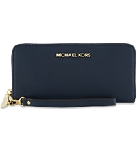 Michael Michael Kors Jet Set Travel Continental Zip Around Wallet Navy