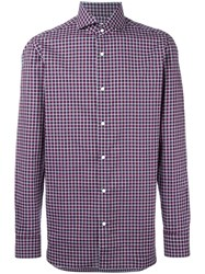 Borrelli Spread Collar Plaid Shirt Red