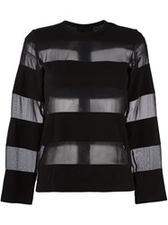 Comme Des Garcons Vintage Sheer Stripe Jumper Black