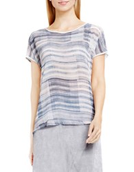 Vince Camuto Short Sleeve Breezy Textures Mixed Media Tee Grey Heather