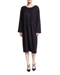 Eskandar A Line Round Neck Dress Navy