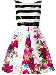 I'm Isola Marras Isola Marras Flower Print Striped Dress White