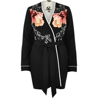 River Island Womens Black Floral Print Robe