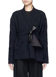 Ms Min Floral Embroidery Faux Leather Belt Cardigan Black