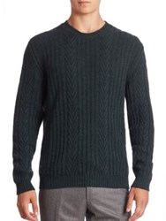 Ermenegildo Zegna Cable Knit Cashmere Sweater Dark Green