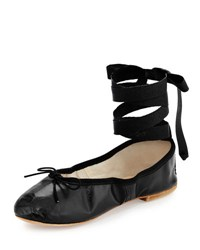 Ballet Beautiful Street Ballerina Leather Ankle Wrap Flat Black
