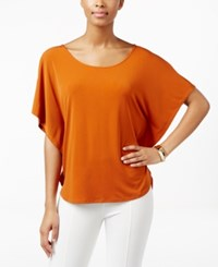 Ny Collection Grommet Back Poncho Top Umber