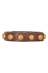 Will Leather Goods Studded Cuff Brown Brass