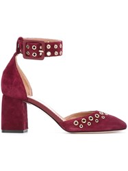 Red Valentino Eyelets Ankle Strap Pumps Red