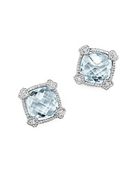 Judith Ripka Sterling Silver Cushion Stud Earrings With White Sapphire And Blue Topaz Blue White