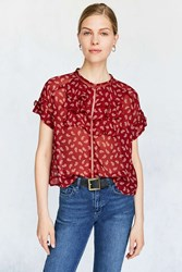 Cooperative Betsey Short Sleeve Ruffle Blouse Red