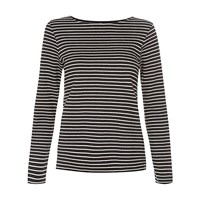 People Tree Nita Stripe Jersey Top Black