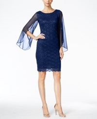 Connected Illusion Angel Sleeve Lace Sheath Dress Navy