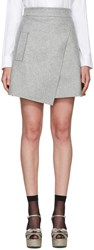Carven Grey Wool Wrap Miniskirt