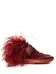 Christopher Kane Feather Embellished Slip On Neoprene Trainers Burgundy