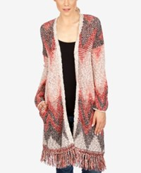 Lucky Brand Printed Fringe Long Cardigan Red Multi