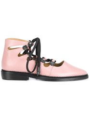 Toga Pointed Toe Lace Up Shoes Pink And Purple