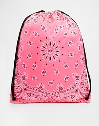 Pull And Bear Pullandbear Drawstring Backpack With Bandana Print Pink
