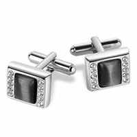 Forzieri Anthracite Silver Plated Cufflinks Black