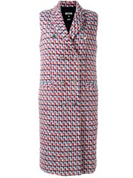 Msgm Sleeveless Tweed Coat Multicolour
