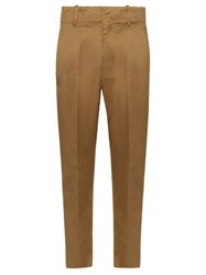 Etoile Isabel Marant High Rise Tapered Leg Cotton Chino Trousers Khaki
