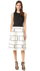 Narciso Rodriguez Sleeveless Graphic Dress Black White