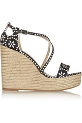 Tabitha Simmons Jenny Printed Satin Espadrille Wedge Sandals Black