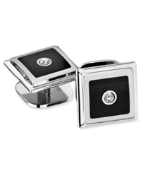 Macy's Men's Stainless Steel Stud Set Diamond Accent And Black Enamel Set Of Four Studs