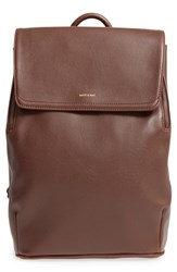 Matt And Nat 'Fabi' Vegan Leather Laptop Backpack Brown Coffee