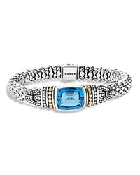 Lagos 18K Gold And Sterling Silver Glacier Bracelet With Swiss Blue Topaz Blue Silver