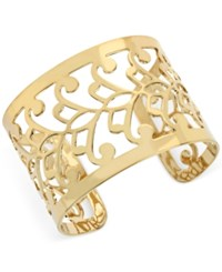 Hint Of Gold Filigree Cuff Bracelet In 14K Gold Plated Metal Yellow Gold