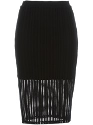 Alexander Wang T By Perforated Midi Skirt Black