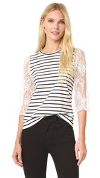 Leur Logette Lace Sleeve Top Stripe