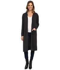 Allen Allen Hooded Open Long Cardigan Black Women's Sweater