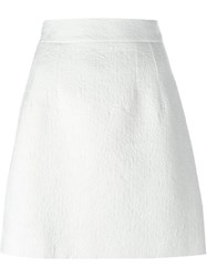 Dolce And Gabbana Daisy Jacquard Skirt White