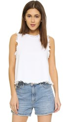 J.O.A. Frayed Denim Top White