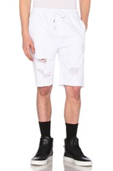 Stampd Distressed Denim Shorts In White