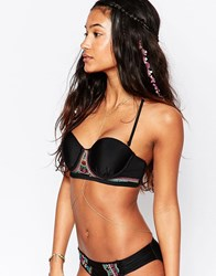 Hobie Embroidered Underwired Bikini Top Black