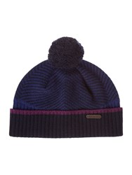 Ted Baker Archat Twill Knitted Bobble Hat Navy