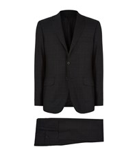 Hardy Amies Soft Stitch Check Brinsley Fit Suit Male Dark Grey