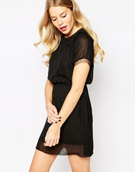 Pussycat London Skater Dress With Peter Pan Collar Black