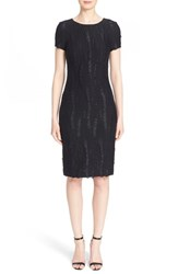 Women's St. John Collection Textured Fringe Knit Dress